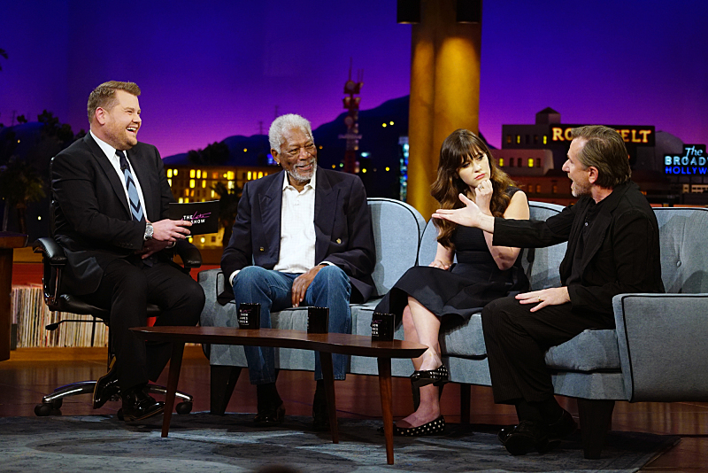 "James Corden chats with Morgan Freeman, Zooey Deschanel, and Tim Roth on ""The Late Late Show with James Corden,"" Monday, January 11, 2016, on The CBS Television Network.   Photo: Sonja Flemming/CBS ©2016 CBS Broadcasting, Inc. All Rights Reserved"