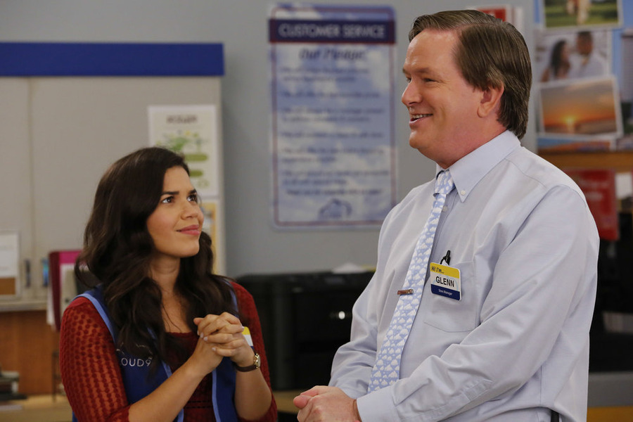 "SUPERSTORE -- ""All-Nighter"" Episode 109 -- Pictured: (l-r) America Ferrera as Amy, Mark McKinney as Glenn -- (Photo by: Vivian Zink/NBC)"