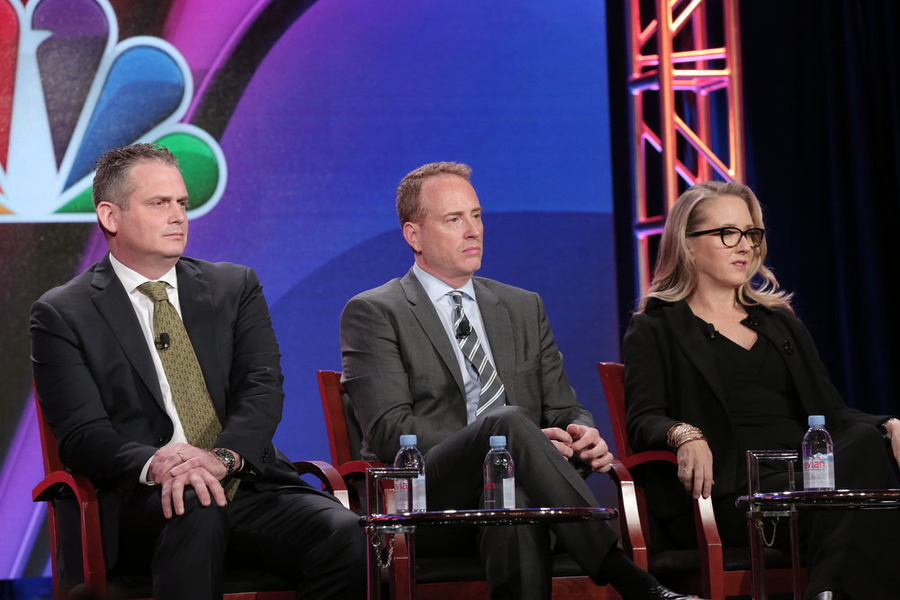 "NBCUNIVERSAL EVENTS -- NBCUniversal Press Tour, January 2016 -- ""NBC Executive Session"" -- Pictured: (l-r) Paul Telegdy, President, Alternative and Late Night; Robert Greenblatt, Chairman, NBC Entertainment; Jennifer Salke, President, NBC Entertainment -- (Photo by: Chris Haston/NBCUniversal)"