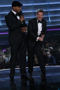 LL Cool J and James Corden during THE 58TH ANNUAL GRAMMY AWARDS, Monday, Feb. 15, 2016 (8:00-11:30 PM, live ET) at STAPLES Center in Los Angeles and broadcast on the CBS Television Network. Photo: Cliff Lipson/CBS ©2016 CBS Broadcasting, Inc. All Rights Reserved