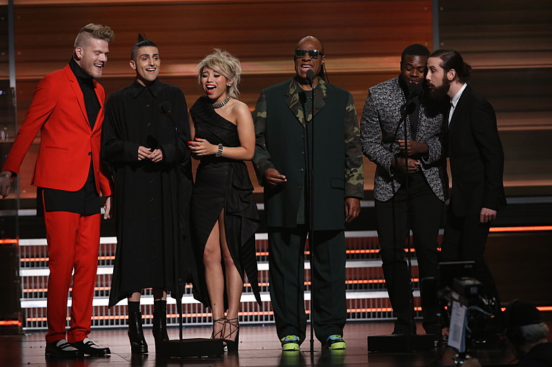 Stevie Wonder and Pentatonix during THE 58TH ANNUAL GRAMMY AWARDS, Monday, Feb. 15, 2016 (8:00-11:30 PM, live ET) at STAPLES Center in Los Angeles and broadcast on the CBS Television Network. Photo: Cliff Lipson/CBS ©2016 CBS Broadcasting, Inc. All Rights Reserved