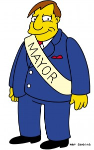 THE SIMPSONS.  Mayor Quimby on THE SIMPSONS on FOX.  ª©2002THE SIMPSONS and TTCFFC ALL RIGHTS RESERVED.  ª©2002FOX BROADCASTING  CR:FOX