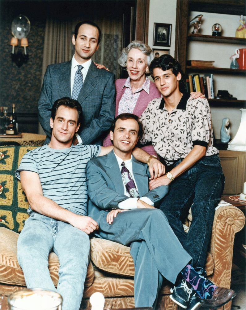THE FANELLI BOYS, (clockwise, from top left): Ned Eisenberg, Ann Morgan Guilbert, Andy Hirsch, Joe Pantoliano, Christopher Meloni, 1990-91. © Touchstone Televison