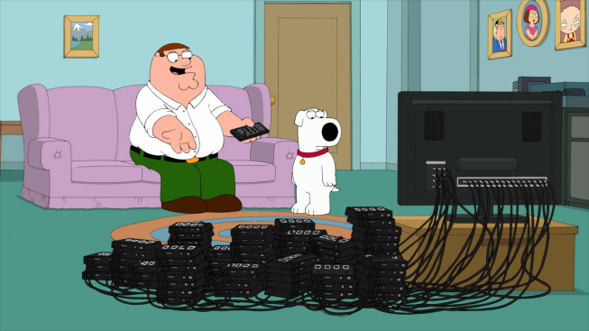 """FAMILY GUY: After the Griffins are selected to be a Nielsen family, Peter takes his enthusiasm too far when he steals multiple Nielsen boxes and tries to control the airwaves in the all-new """"All in the Nielsen Family"""" episode of FAMILY GUY airing Sunday, Oct. 7 (9:00-9:30 PM ET/PT) on FOX. FAMILY GUY ™ and © 2012 TCFFC ALL RIGHTS RESERVED."""