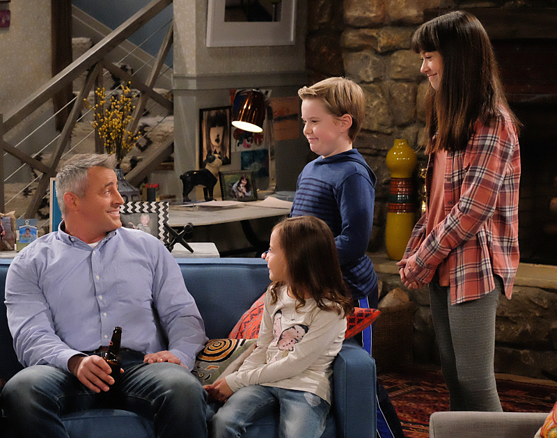 MAN WITH A PLAN stars Matt LeBlanc in a comedy about a contractor who starts spending more time with his kids when his wife returns to the work force and he discovers the truth every parent eventually realizes: their little angels(Grace Kaufman, right; Matthew McCann and Hala Finley) are maniacs. After football ends in October, MAN WITH A PLAN will be broadcast Mondays (8:30-9:00 PM, ET/PT) on the CBS Television Network. Photo: Darren Michaels/CBS ©2016 CBS Broadcasting, Inc. All Rights Reserved