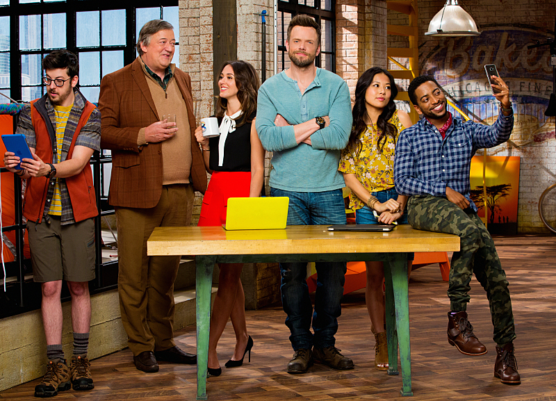 THE GREAT INDOORS stars Joel McHale (center) in a comedy about a renowned adventure reporter for an outdoor magazine who must adapt to the times when he's assigned by the magazine's founder (Stephen Fry, second from left) to be the desk-bound boss to a group of millennials (Christine Ko, second from right; Shaun Brown, far right; and Christopher Mintz-Plasse, far left) in the magazine's digital department. In his new role, Jack reports to Roland's daughter, Brooke (Susannah Fielding, third from left). This fall, THE GREAT INDOORS will be broadcast Thursdays (8:30-9:00 PM, ET/PT) on the CBS Television Network. Photo: Cliff Lipson/CBS ©2016 CBS Broadcasting, Inc. All Rights Reserved