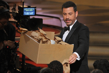 Host Jimmy Kimmel hands out peanut butter and jelly sandwiches at the 68th Primetime Emmy Awards on Sunday, Sept. 18, 2016, at the Microsoft Theater in Los Angeles. (Photo by Vince Bucci/Invision for the Television Academy/AP Images)