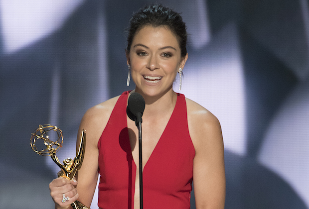 """THE 68TH EMMY(r) AWARDS - """"The 68th Emmy Awards"""" broadcasts live from The Microsoft Theater in Los Angeles, Sunday, September 18 (7:00-11:00 p.m. EDT/4:00-8:00 p.m. PDT), on ABC and is hosted by Jimmy Kimmel. (ABC/Image Group LA) TATIANA MASLANY"""