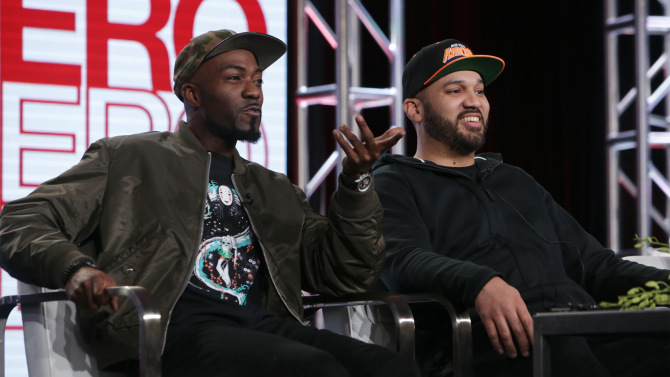 Mandatory Credit: Photo by Buchan/Variety/REX/Shutterstock (7868556t) Desus Nice and The Kid Mero Viceland's 'Desus and Mero' Panel, TCA Winter Press Tour, Los Angeles, USA - 13 Jan 2017