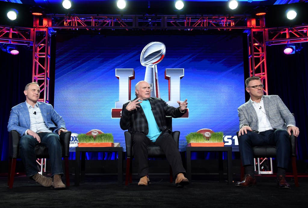 2017 FOX WINTER TCA: L-R: President, COO & Executive Producer, FOX Sports Eric Shanks, FOX NFL Sunday Co-Host Terry Bradshaw and FOX NFL Sunday Analyst Howie Long during the SUPER BOWL LI panel at the 2017 FOX WINTER TCA at the Langham Hotel, Wednesday, Jan. 11 in Pasadena, CA. CR: Frank Micelotta/FOX/PictureGroup