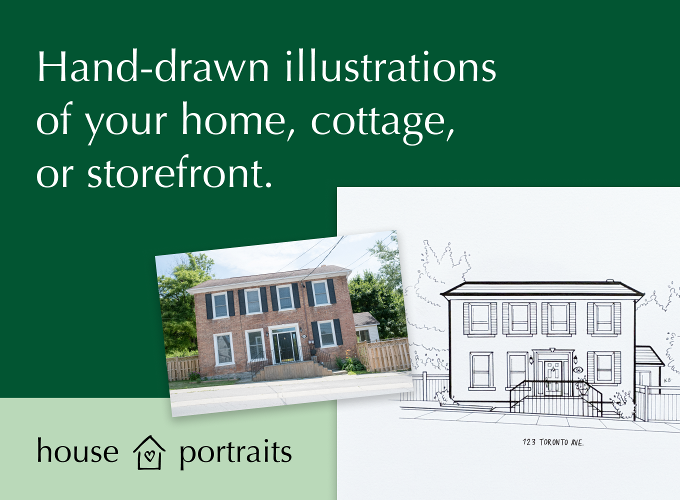 Ad for houseportraits.shop site to commission custom artwork of your home, cottage or storefront.